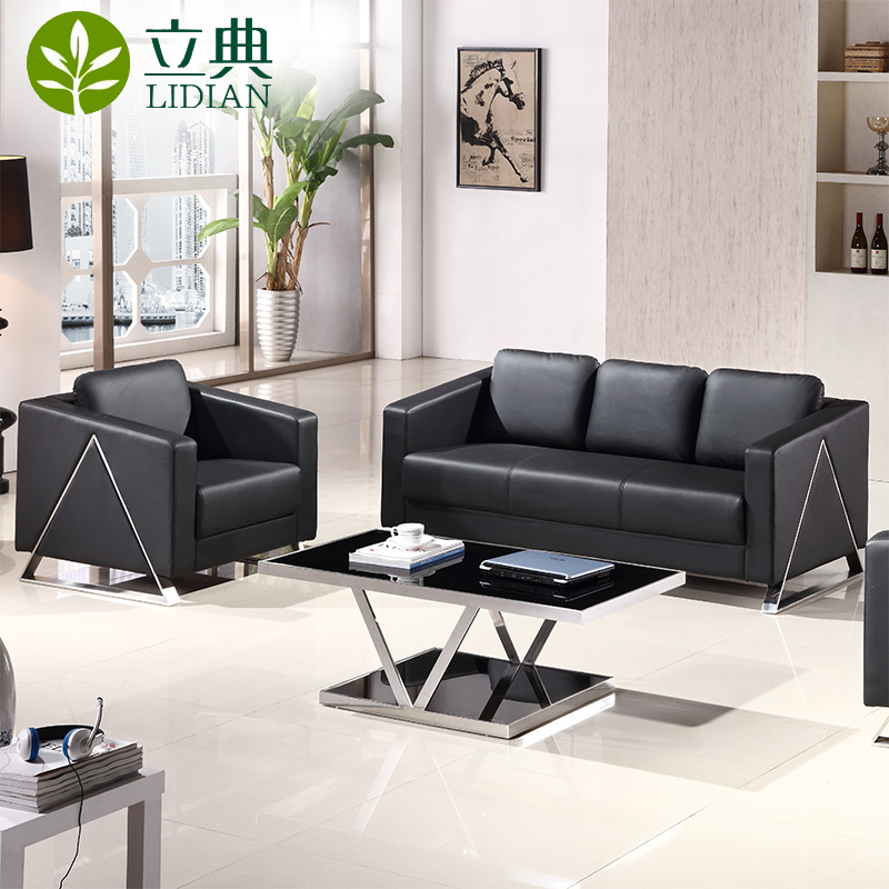 Guangzhou business leather office sofa table combination of three bits of office furniture minimalist modern office to be connected to the
