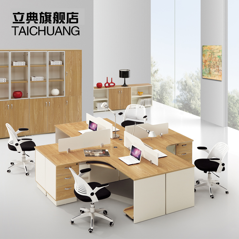 Guangzhou office furniture desk staff minimalist modern computer desk staff tables screen wind office chairs 4 bits