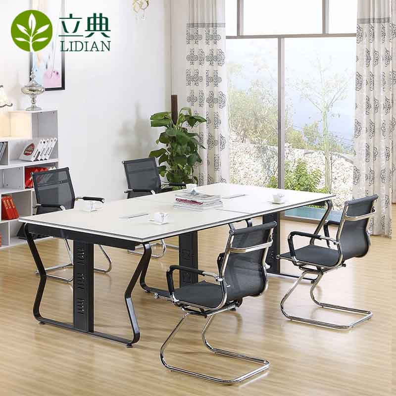 Guangzhou office furniture minimalist modern office conference tables and chairs combination plate wood bar tables training table