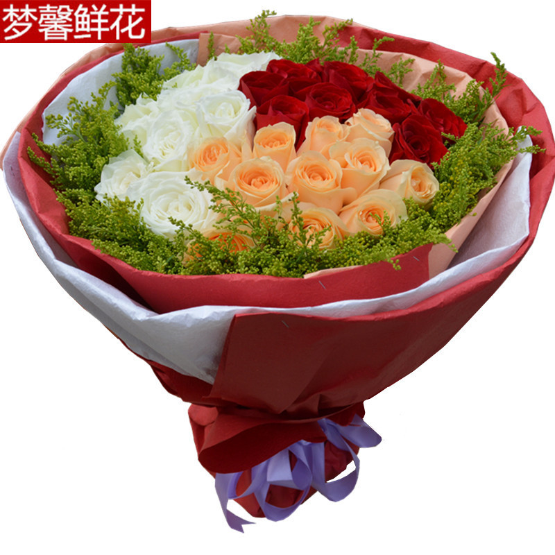 Guangzhou shenzhen florist flowers 33 champagne roses red and white flowers foshan zhongshan jiangmen flowers home country of meizhou