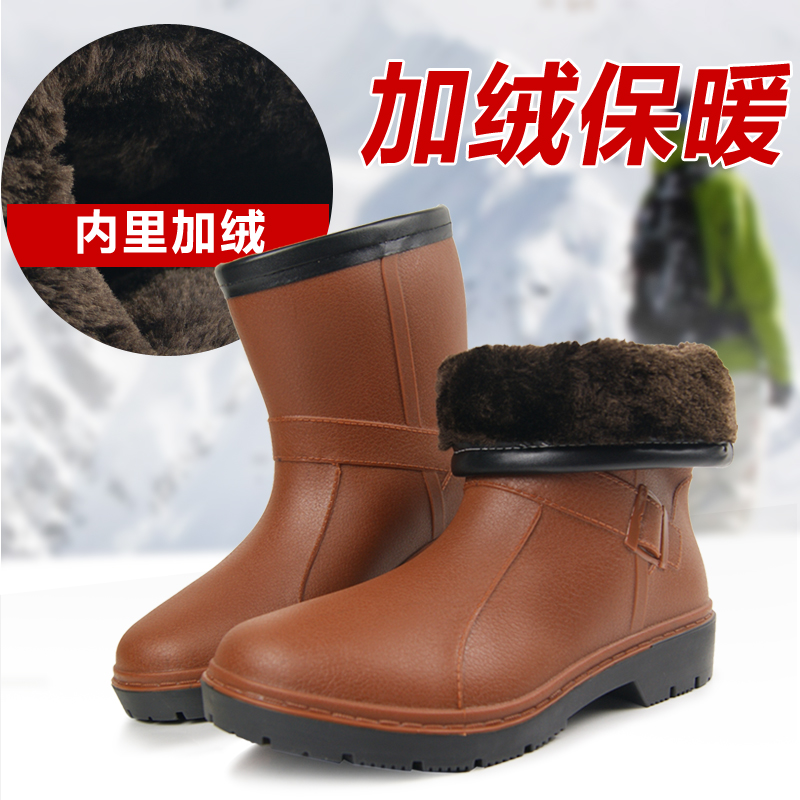 Guava philippine thick male and female models in tube rain boots warm winter plus velvet boots overshoes water shoes plus cotton cotton