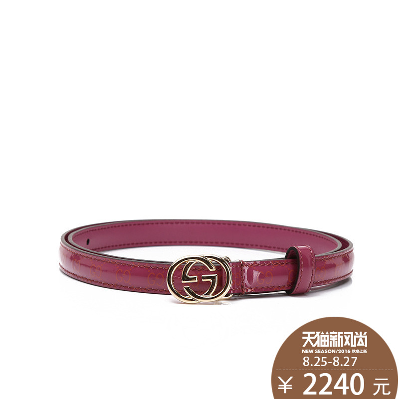 Gucci/gucci/gucci/gucci genuine glossy embossed cow leather belt ms. thin belt female models