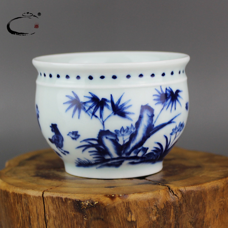 Gui xiang hand tltle chicken cylinder cup tea cup large cup of jingdezhen blue and white ceramic bowl painted teacup