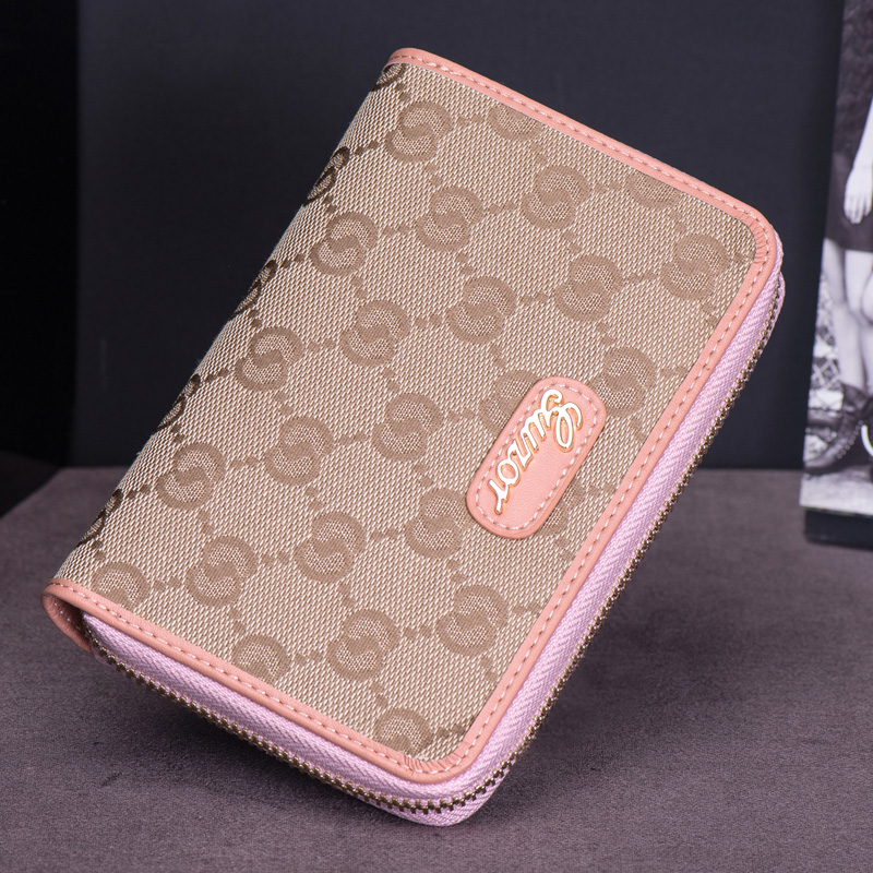 Guzor/ancient zhuo 2016 new canvas zipper leather wallet female short paragraph ms. wallet leather wallet women wallet