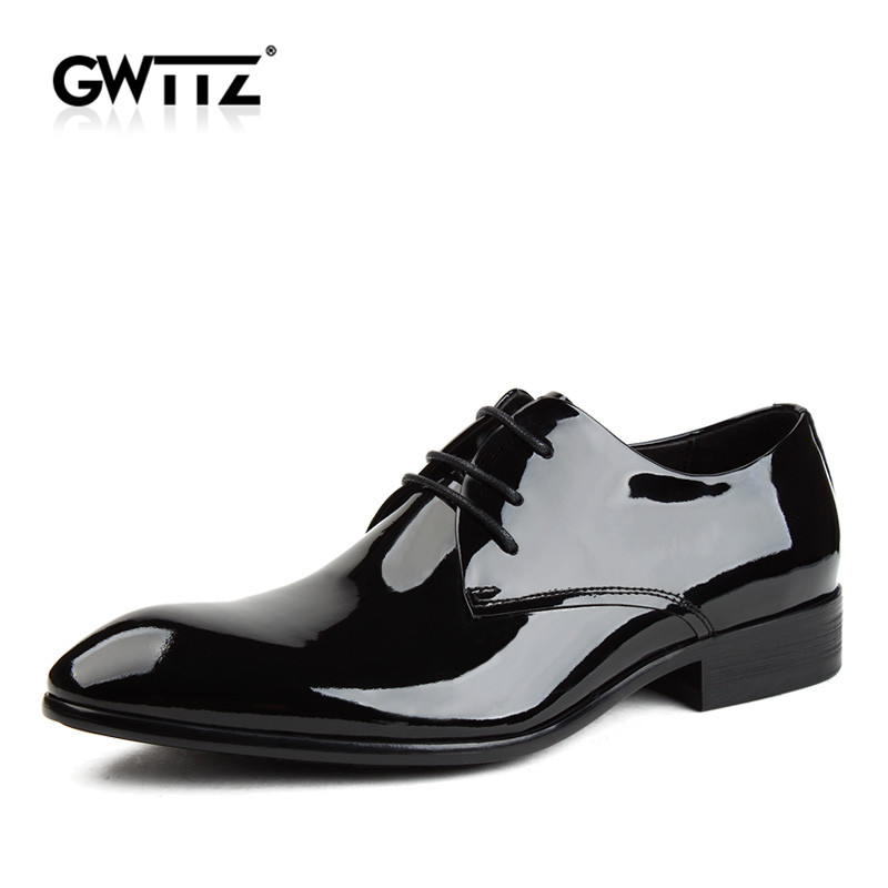 Gwttz shirtwaist glossy wedding shoes 2016 autumn new leather pointed shoes men's wear and leather shoes derby shoes 4211