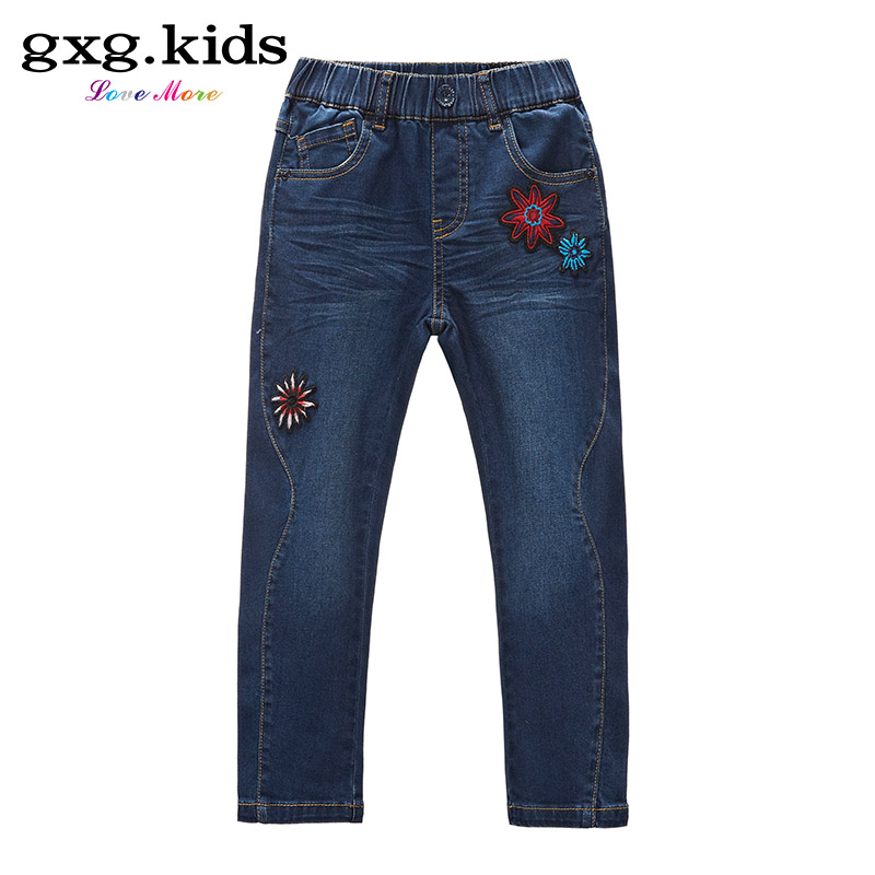 Gxg kids kids girls 2016 spring counter new children's trousers embroidered jeans B6105251