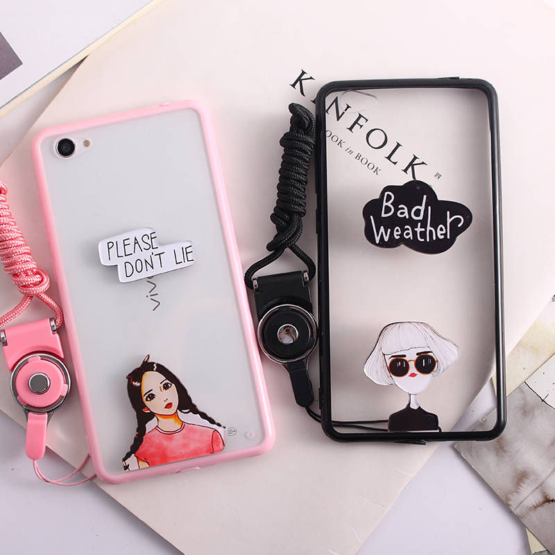 4ab9042a26af Get Quotations · Gy x5pro cartoon couple phone shell vivo original creative  lanyard popular brands of soft shell female