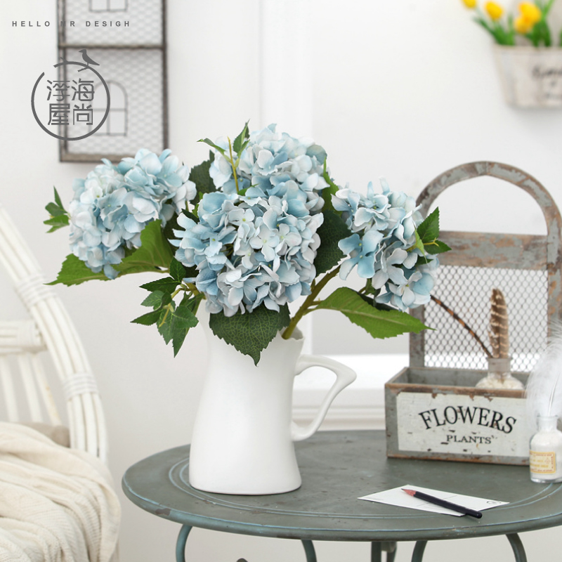 H house is still floating sea hydrangea flowers + vase creative home floral packages artificial flowers living room office room desktop swing sets