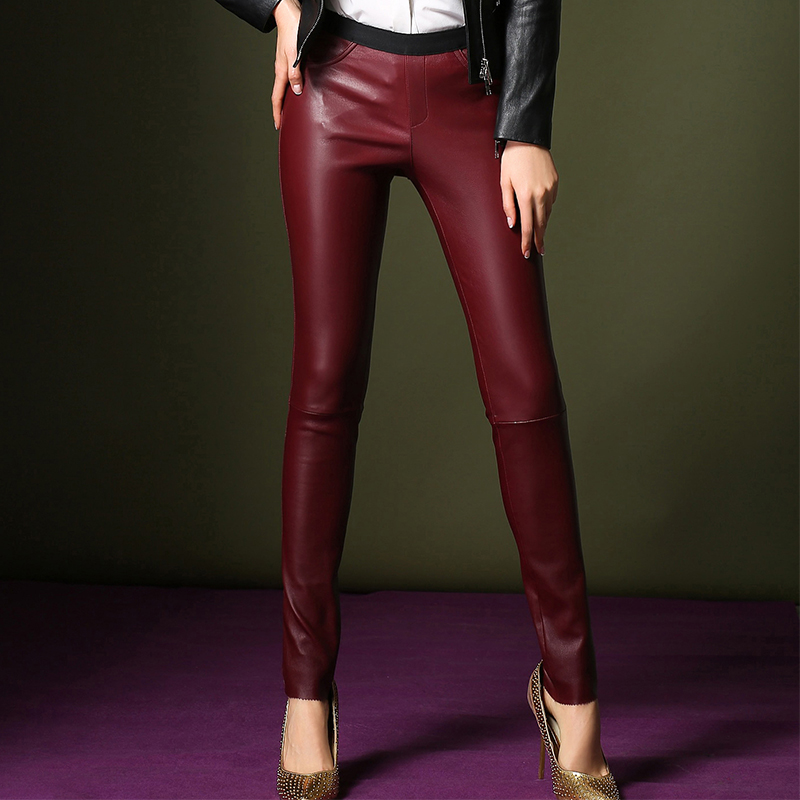 H3h in europe and america stretch leather pants leather pants female trousers plus thick velvet haining sheep skin was thin tight pants feet tide