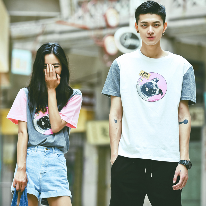Hahn qlz korean 2016 summer new men and women lovers cartoon dog head short sleeve t-shirt lovers tide korean fan