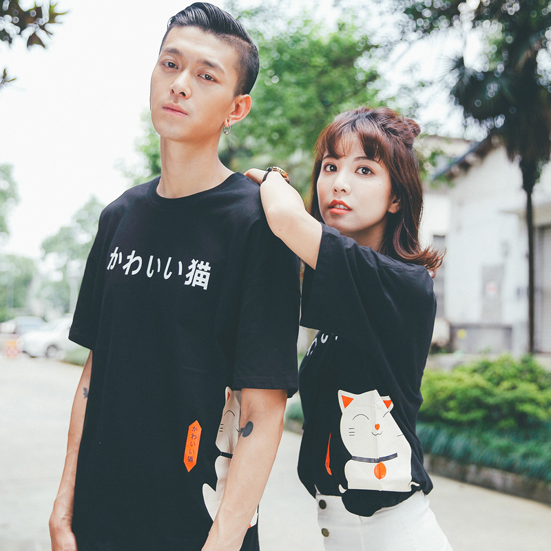 Hahn qlz lovers 2016 new summer clothes for men and women hedging sweater influx of korean version of the cartoon short sleeve t-shirt lovers