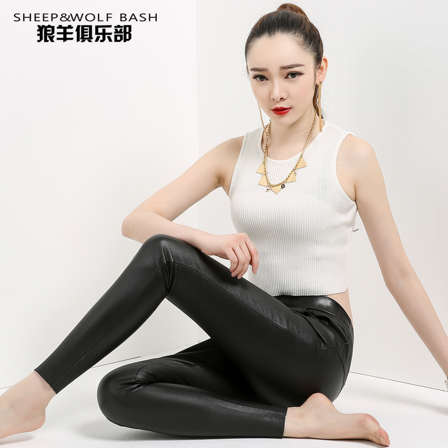 Haining female sheep skin leather in europe and america stretch leather pants leather pants pencil pants feet was thin tight trousers special clearance