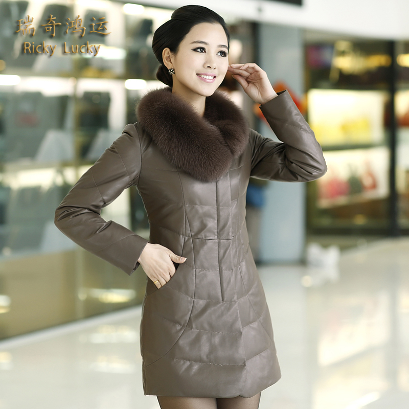 Haining leather leather leather down jacket women long section of leather leather leather down jacket women down jacket big fox fur collar coat female 2016