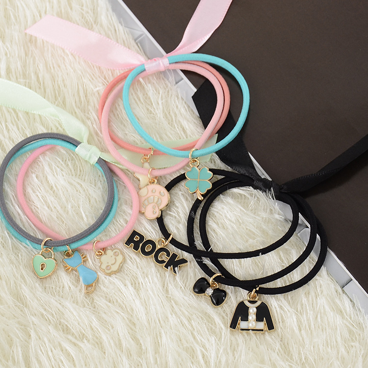 Hair accessories jewelry korean children headdress hair rubber band rope hair ring tousheng korean version of the lovely fruit leather