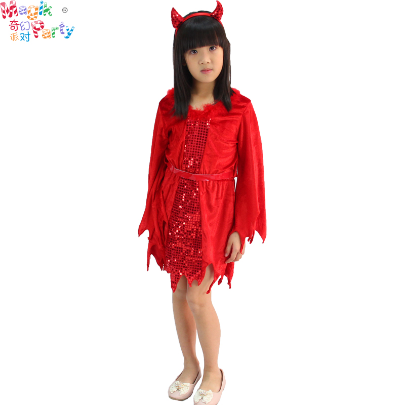 Halloween cosplay masquerade costumes children role play costumes girls dress red devil