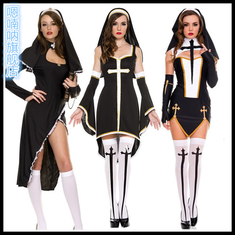 a9026756d64 Get Quotations · Halloween costumes adult female priest nun costume cosplay  masquerade costumes of notre dame
