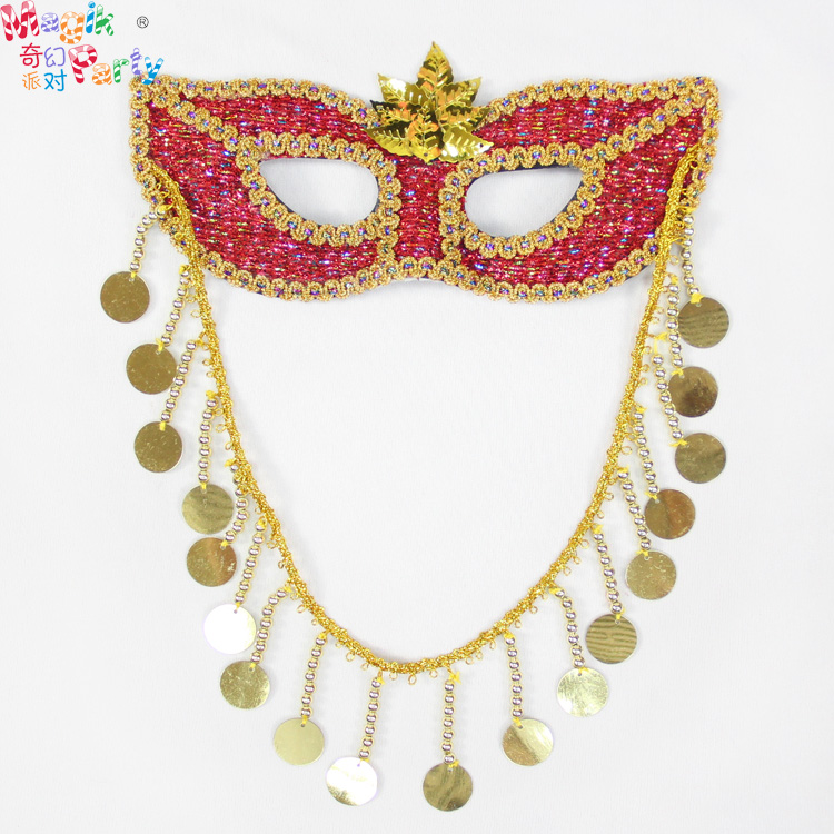 Halloween mask masquerade mask venetian mask princess red lines striped female models masks