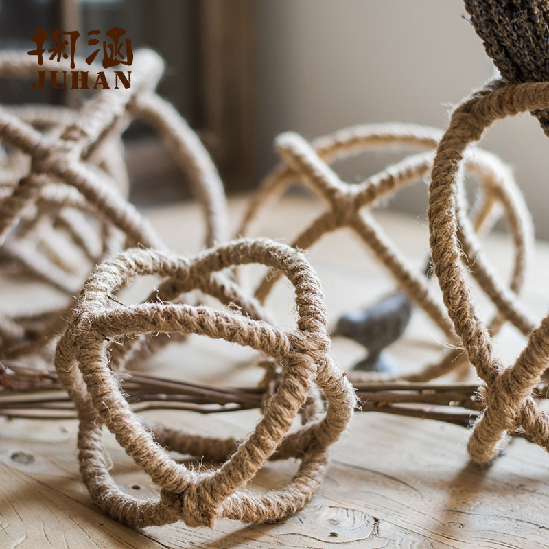 Han skim industrial wind loft cross hemptwist wound ball soft ball window display decorations rh american country
