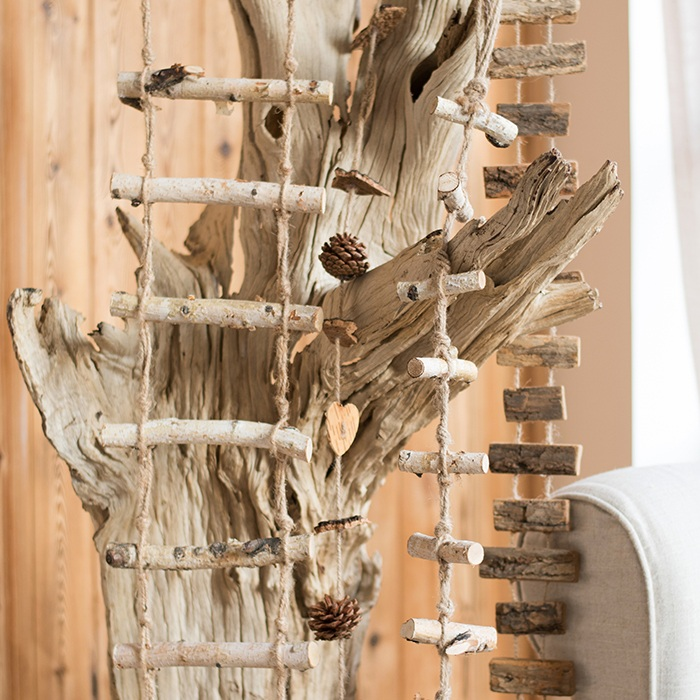 Han skim kabob kabob small ladder wooden birch wood logs pine cones christmas ornaments hanging string hanging decoration