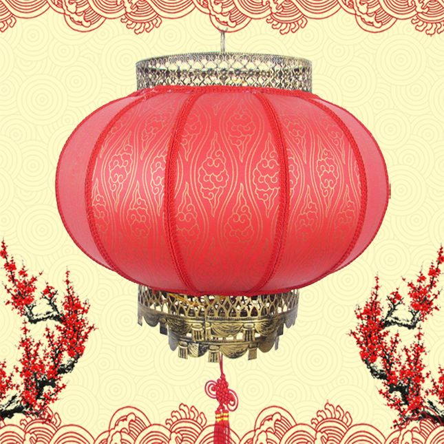 Han tang round red lanterns outdoor lanterns chinese antique imitation sheepskin waterproof outdoor lantern decorative lanterns custom