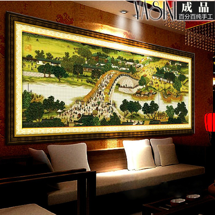 Handmade embroidery stitch finished living room landscape painting 2 m 2.5 m 3 m riverside iiç±³three metres wide Figure