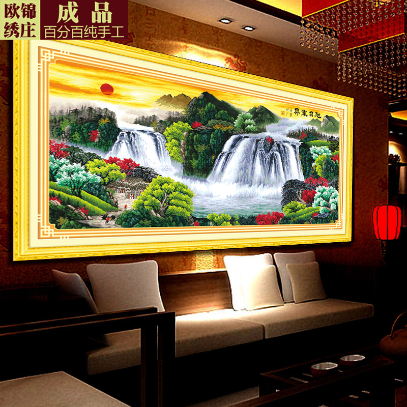 Handmade embroidery stitch finished sharply rising sun parlor making money flowing landscape sell the finished product