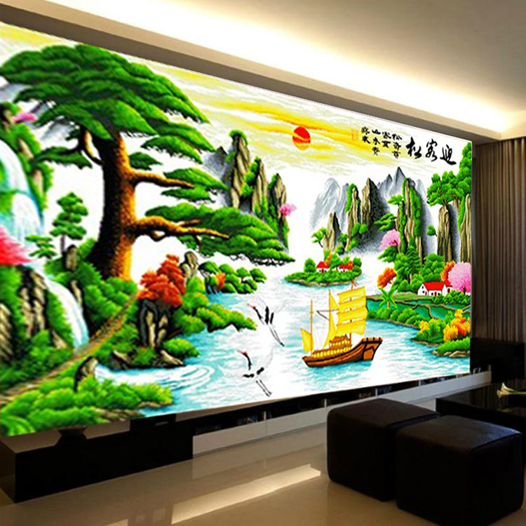 Handmade finished cross stitch substantial new living room landscape painting yingkesong fortunes version 2 m 3 m