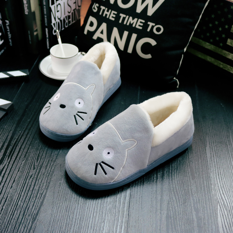 Handsome pig cartoon autumn and winter plus thick crust skid slippers cotton slippers bag with padded shoes men shoes plush shoes month