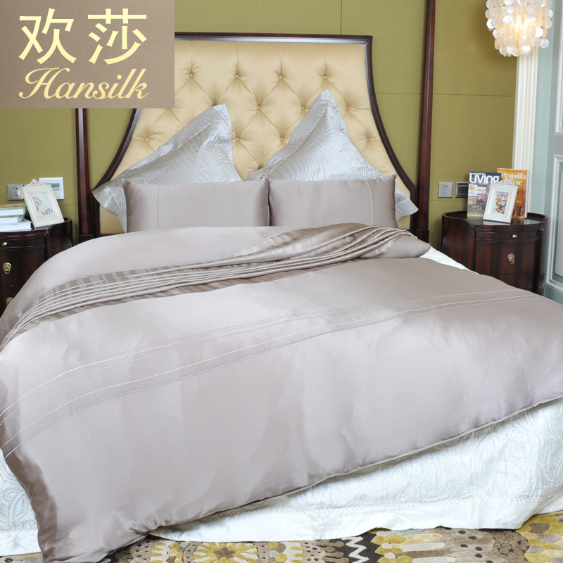 Hansilk/huan lufthansa sided 100% mulberry silk silk family of four family of four solid bed on supplies