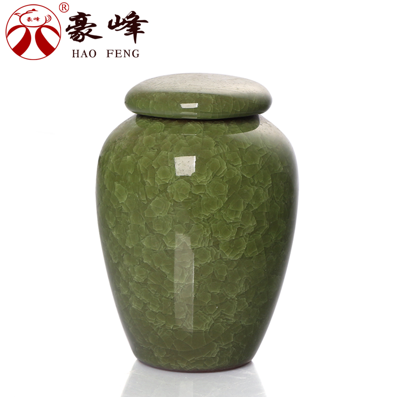 Hao feng ru porcelain ceramic tea caddy binglie glaze sealed cans pu'er dense food storage cans sealed cans chaguan sugar