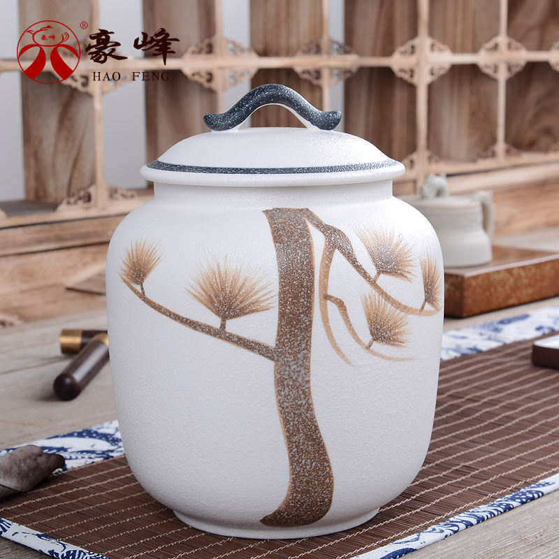 Hao feng snow glaze clay ceramic tea caddy ru sealed food storage cans sealed cans candy jar chaguan