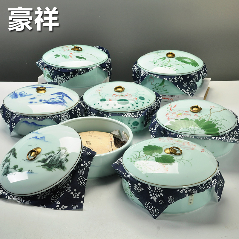 Hao xiang pure hand painted porcelain tank painted two cake pu'er tea caddy large ceramic tea sets dense sealed cans specials