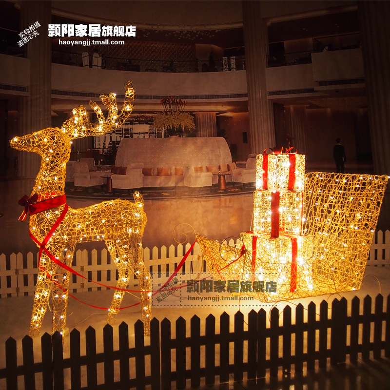 Hao yang christmas deer pull car 1.2 m pe rattan iron christmas deer pull car decoration luminous with light