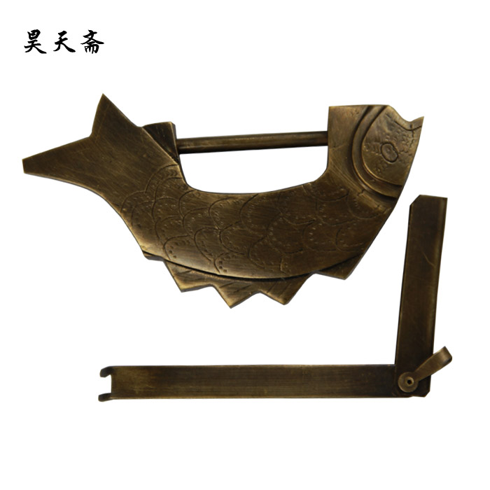 [Haotian vegetarian] antique copper lock/fun fish fish fish lock lock furniture lock brass padlock trumpet