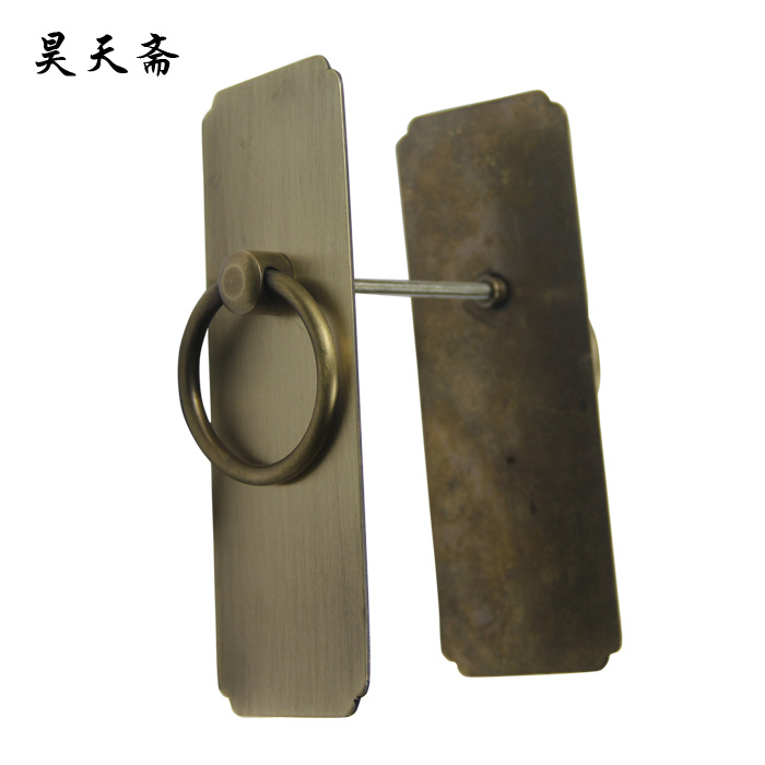 Haotian vegetarian genuine new chinese antique door knocker ring copper door handle straight handle wardrobe cupboard door handle doorknob hole