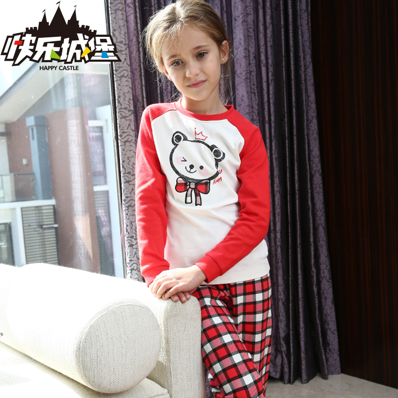 Happy castle 2015 autumn children's clothing female child spring and autumn cotton thermal underwear sets children qiuyiqiuku suit