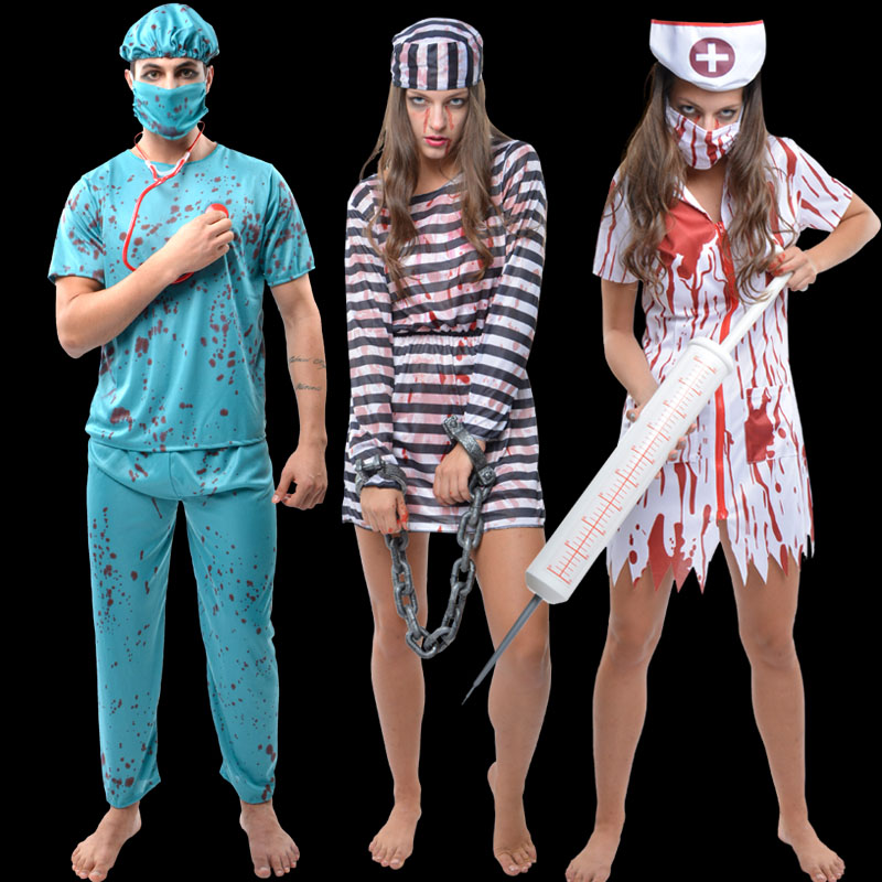 5ecd868a36db6 Get Quotations · Happy halloween party cloak fake blood plasma zombie ghost horror  bloody nurse doctor prisoner costume