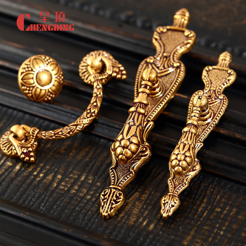 Hardware was the top european antique drawer handle small hole fashion simple carved bookcase wardrobe cupboard handle