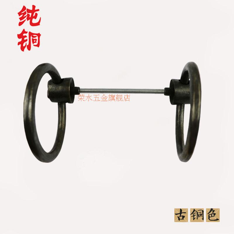 [Hardware] water wing chinese antique bronze door handle copper ring handle petal head paragraph one pair of dress G-145