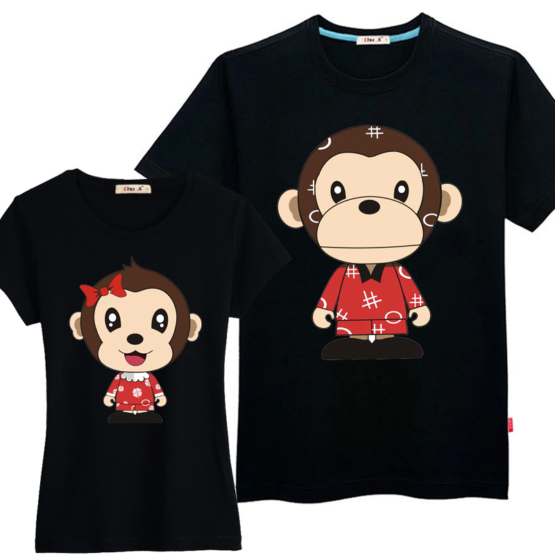 Has been at the beginning of monkey 2016 summer new lovers short sleeve t-shirts for men and women ql korean version of the big yards half sleeve dress