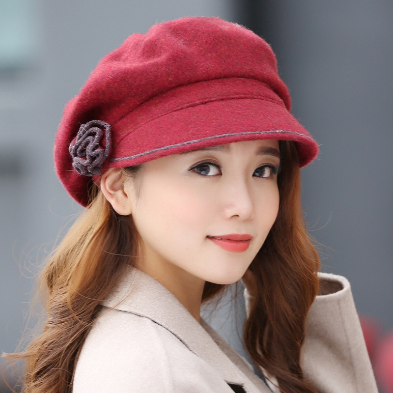 Hat female korean tidal fall and winter beret hat millinery hat female korean fashion warm winter hat wool fedora hat