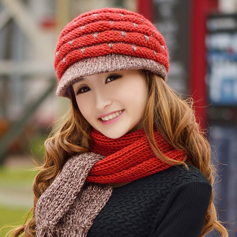 376eb381b559 Get Quotations · Hat scarf piece female winter hat wool hat scarf hat suits  middle-aged ladies wool