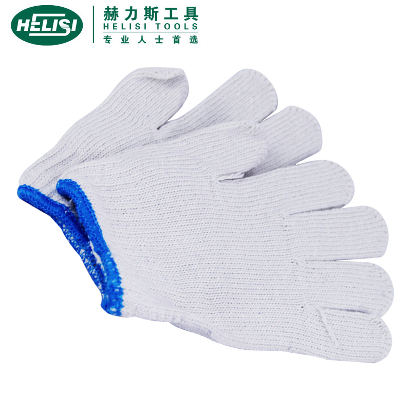 He ellis (helisi) white line gloves gloves (ten gauzes) thick blue border