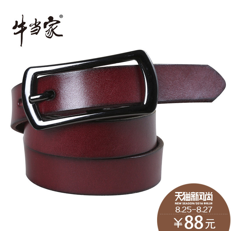 Headed cow leather belt leather belt female fine decorative fashion female head layer of leather cow leather belt buckle waistband
