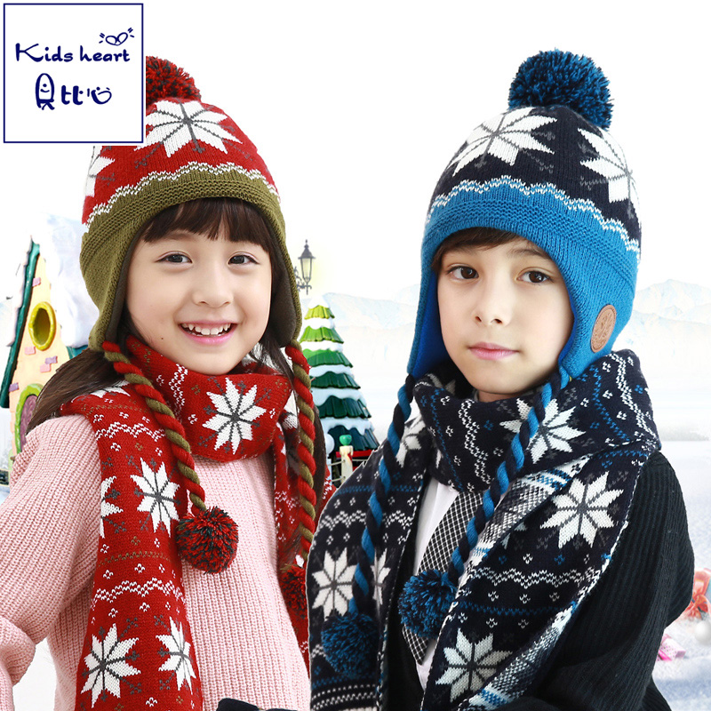 c69282faac2 Heart kids korean boy suit children winter hat scarf piece fitted girls  treasure treasure fall and
