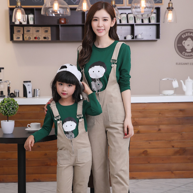 Heart only love 2016 autumn family fitted korean mother and mother and cotton overalls siamese pants long sleeve t-shirt piece fitted