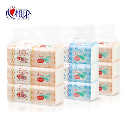 Hearttex pumping paper dt1120 special baby soft tissue pumping paper napkin tissues 3 layer 9 pack 3 mention loaded