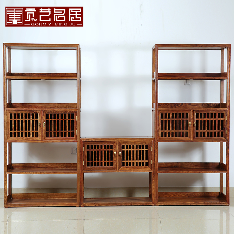Hedgehog rosewood mahogany furniture full of antique chinese wood combination bookcase bookcase shelving office den