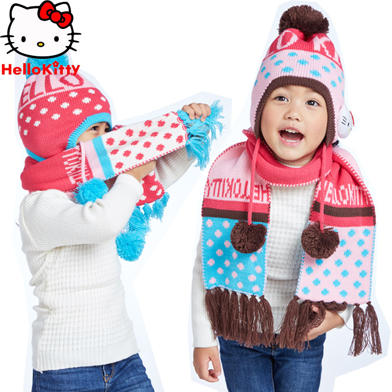 Hello kitty girls children suit baby winter hat scarf hat scarf hat scarf piece