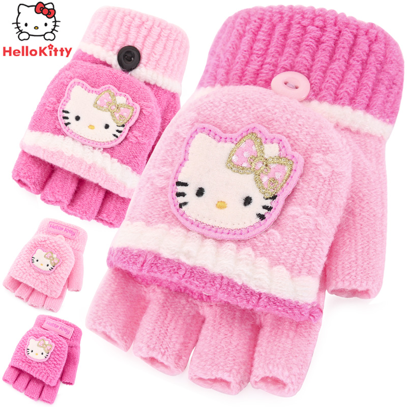 ef4fd67f8 Get Quotations · Hello kitty girls princess children warm winter gloves  fingers cute wool gloves knitted baby clamshell